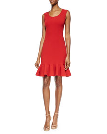 Scoop-Neck Flounce-Hem Dress