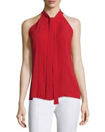 Tie-Neck Pleated-Front Sleeveless Top, Crimson