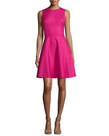 Sleeveless Fit-&-Flare Dress, Geranium