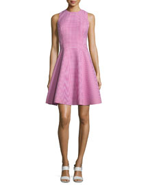 Sleeveless Gingham Fit-&-Flare Dress, Geranium