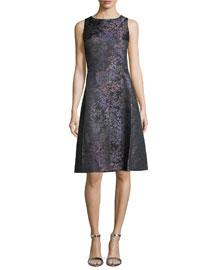Sleeveless Floral-Print A-Line Dress, Black