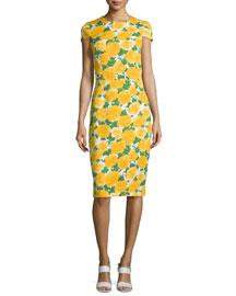 Cap-Sleeve Floral-Print Sheath Dress, White/Daffodil