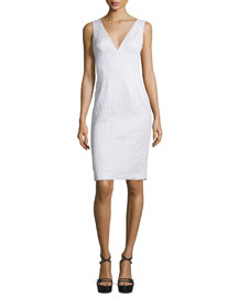 Sleeveless V-Neck Sheath Dress, Optic White