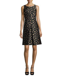 Sleeveless Floral-Print A-Line Dress, Black/Oleander