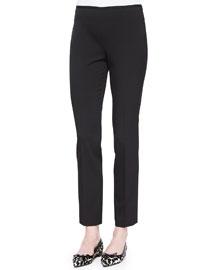 Side-Zip Stretch Wool Skinny Pants