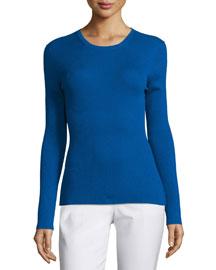 Long-Sleeve Cashmere Top, Cobalt