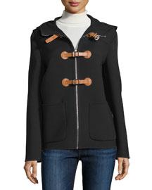 Zip-Front Hooded Jacket, Black