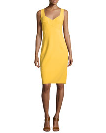 Sleeveless V-Neck Sheath Dress, Daffodil
