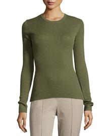 Long-Sleeve Cashmere Top, Juniper