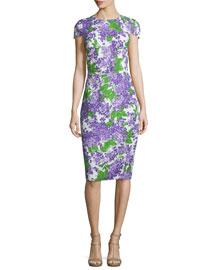 Cap-Sleeve Floral-Print Sheath Dress, Optic White/Lilac