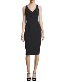 Sleeveless Crossover Sheath Dress, Black