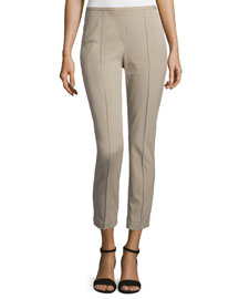 Side-Zip Skinny Cropped Pants, Sand
