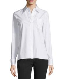 Long-Sleeve French-Cuff Shirt, Optic White
