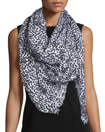 Dot-Print Scarf, Optic White/Black