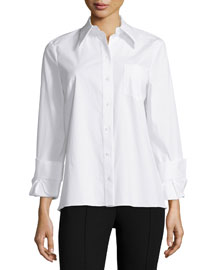 Twisted-Cuff Button-Front Top, White
