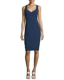 Cross-Front Tank Sheath Dress, Indigo