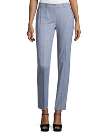 Straight-Leg Ankle Pants, Heather Gray