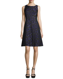 Sleeveless Floral-Print A-Line Dress, Black/Leaf/Oleander