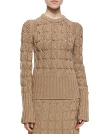Aran Cashmere-Blend Mixed-Knit Sweater