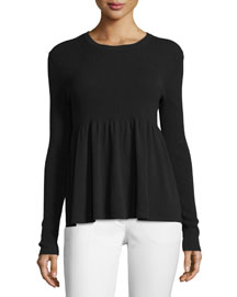 Long-Sleeve Flare Top, Black
