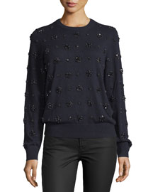 Long-Sleeve Embellished-Cashmere Sweater, Navy/Multi