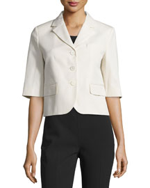 Half-Sleeve Button-Front Jacket, Muslin