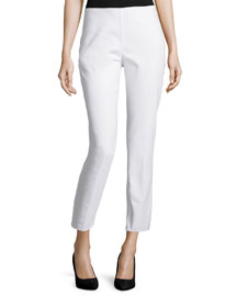 Side-Zip Cropped Pants, Optic White