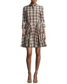 Button-Front Double-Cuff Shirtdress, Muslin/Black
