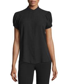 Gathered-Sleeve Silk Blouse, Black