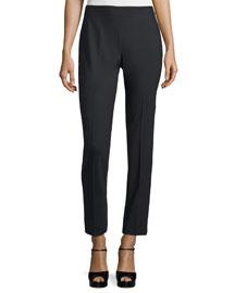 Side-Zip Skinny Ankle Pants, Black