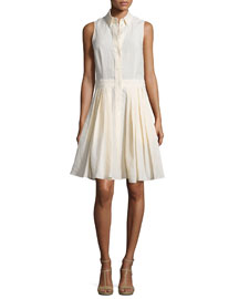 Sleeveless Button-Front Shirtdress, Muslin