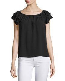 Ruffle-Sleeve Round-Neck Top, Black