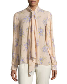 Tie-Neck Pleated-Sleeve Blouse, Nude/Wisteria