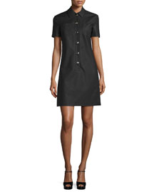 Short-Sleeve Polo Shirtdress, Black
