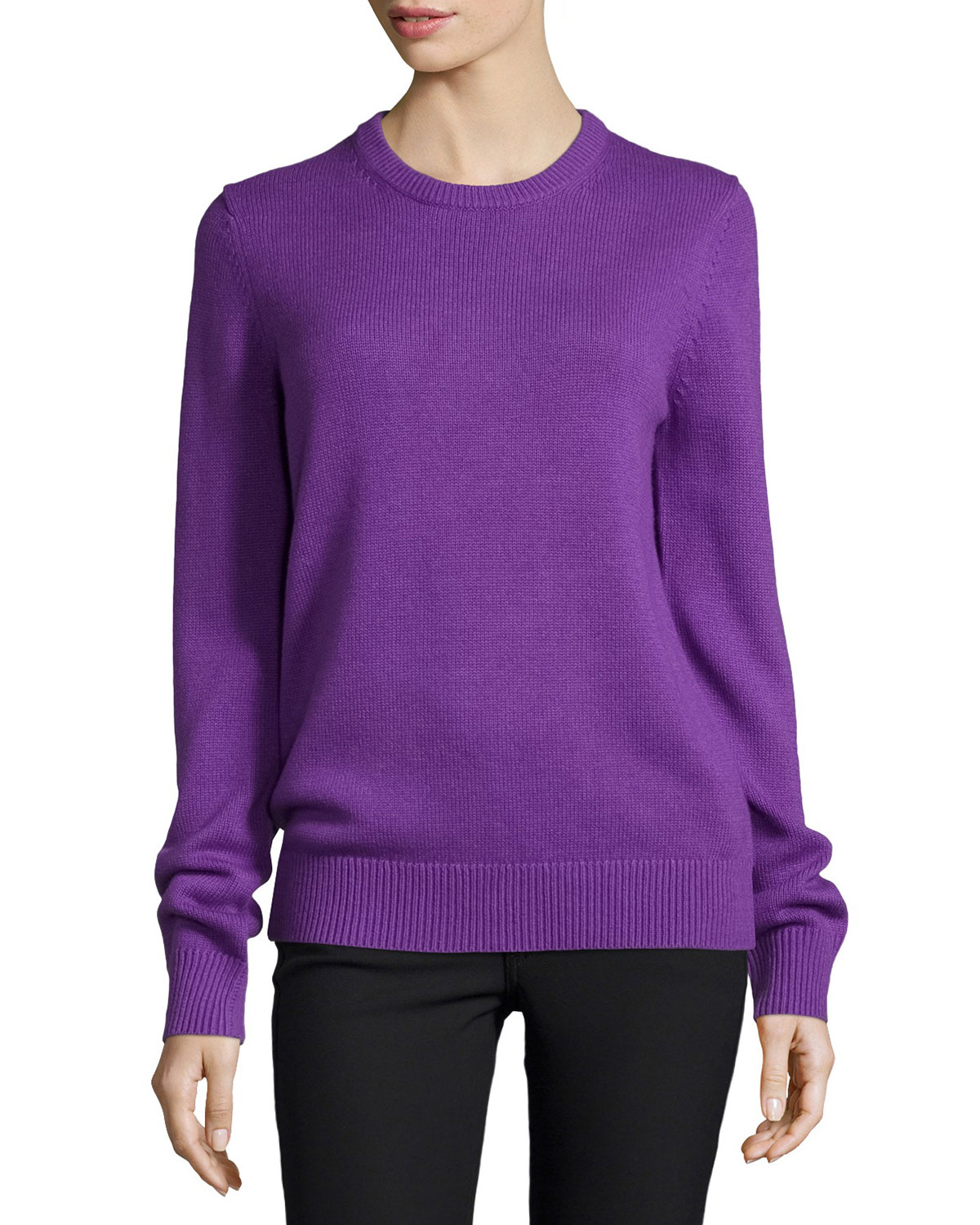 Michael Kors Collection Cashmere-Blend Long-Sleeve Sweater, Lilac (Purple), Women's, Size: L