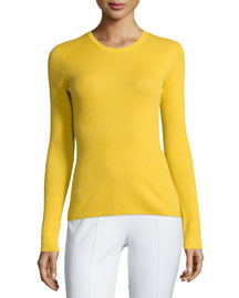 Long-Sleeve Cashmere Top, Daffodil