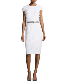 Cap-Sleeve Textured Sheath Dress, Optic White