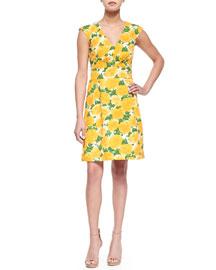 Sleeveless Daffodil-Print V-Neck Dress