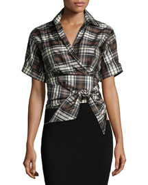 Short-Sleeve Plaid Wrap Top, Black/Nutmeg