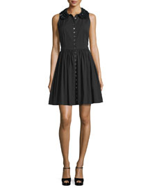 Embellished-Collar Button-Front Shirtdress, Black