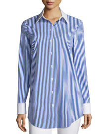 Contrast-Collar Button-Front Striped Long Shirt, Cobalt/White
