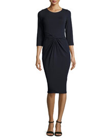 3/4-Sleeve Twist-Front Sheath Dress, Navy