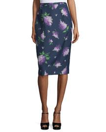 Floral-Print Pencil Skirt, Indigo/Lilac