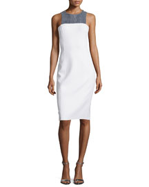 Embellished Halter-Neck Sheath Dress, White