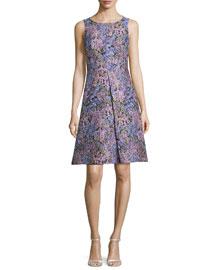 Sleeveless Inverted-Pleat Floral-Print Dress, Black