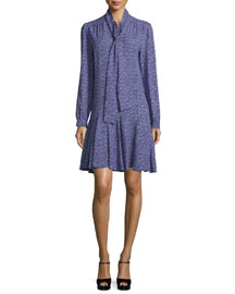 Long-Sleeve Tie-Neck Dress, Blackberry