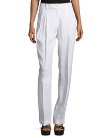 Pleated-Front Wide-Leg Pants, Optic White