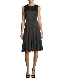 Sleeveless Godet-Pleated Dress, Black