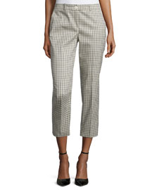 Straight-Leg Check-Print Cropped Pants, Muslin/Black