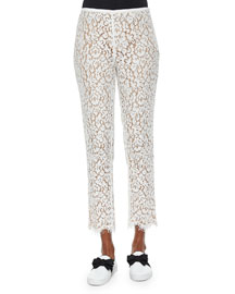 Floral Lace Skinny Cropped Pants